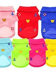 preiswerte -Hunde / Katzen / Haustiere T-shirt Hundekleidung Solide / Bär / Stickerei Blau / Rosa / Hellblau Baumwolle / Polyester Kostüm Für