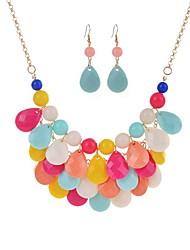 baratos -Mulheres Caído Conjunto de jóias 1 Colar / Brincos - Boêmio Forma Geométrica Verde / Azul / Rosa claro Conjunto de Jóias Para Cerimônia /