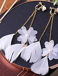 Недорогие -Жен. Цирконий Клипсы - Перо корейский Мода Бижутерия Белый Назначение Свадьба Праздники 1