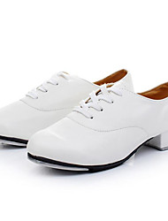 cheap -Boys' Tap Shoes Patent Leather Oxford Low Heel Customizable Dance Shoes White / Black / Performance