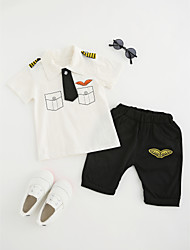cheap -Boys' Daily School Cartoon Clothing Set, Cotton All Seasons Short Sleeves Cute Casual Active White Blushing Pink Gray Yellow Light Blue
