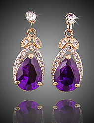 cheap -Women's Crystal Drop Earrings - Gold Plated Simple, Fashion Purple For Party / Evening / Office & Career