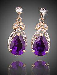 abordables -Mujer Cristal Pendientes colgantes - Chapado en Oro Simple, Moda Morado Para Fiesta / Noche / Oficina y carrera