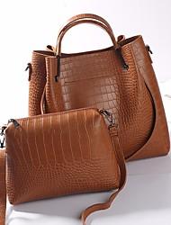 baratos -Mulheres Bolsas PU Conjuntos de saco 2 Pcs Purse Set Ziper Preto / Cinzento / Marron