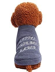 economico -Prodotti per cani Prodotti per gatti Animali domestici T-shirt Abbigliamento per cani Semplice Ricamato Frasi e citazioni Grigio Cotone /