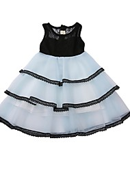 cheap -Kids Girls' Black & White Color Block Sleeveless Dress
