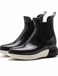 baratos -Mulheres Sapatos Pele PVC Outono Botas de Chuva Botas Sem Salto Botas Curtas / Ankle Preto / Marron / Azul