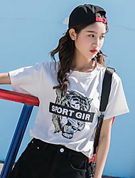 billige -Dame - Ensfarvet / Dyr Trykt mønster Basale T-shirt Tiger