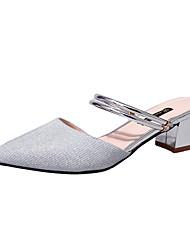 abordables -Femme Chaussures Cuir Nubuck Eté A Bride Arrière Sabot & Mules Talon Bottier Bout pointu Or / Argent / Soirée & Evénement