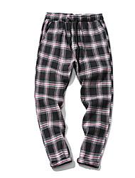 abordables -Hombre Activo Chinos Pantalones - A Cuadros