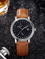 abordables -YAZOLE Hombre Cuarzo Reloj de Pulsera Chino Resistente al Agua Creativo Piel Banda Colorido Negro Marrón