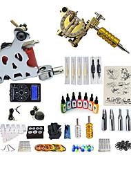 abordables -BaseKey Machine à tatouer Kit pour débutant - 2 pcs Machines de tatouage avec 7 x 15 ml encres de tatouage, Professionnel, Kits Alliage LCD alimentation Case Not Included 20 W 2 Machine à tatouage x