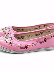 baratos -Mulheres Sapatos Seda Primavera Pom Pom Rasos Sem Salto Vermelho / Rosa claro / Vinho