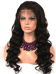 Недорогие -Remy Полностью ленточные Парик Бразильские волосы / Крупные кудри Волнистый Парик 130% Природные волосы / С отбеленными узлами Жен. Длинные Парики из натуральных волос на кружевной основе