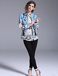 Недорогие -Жен. С принтом Рубашка Классический / Шинуазери (китайский стиль) Геометрический принт