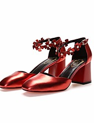 cheap -Women's Shoes Leather Spring Basic Pump Sandals Chunky Heel Silver / Red / Blue