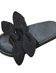 cheap -Women's Shoes PU Summer Comfort Slippers & Flip-Flops Flat Heel Round Toe Bowknot for Outdoor Black / Gray