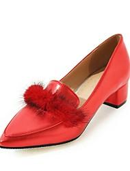 preiswerte -Damen Schuhe Kunstleder Frühling Pumps High Heels Blockabsatz Spitze Zehe Schleife für Normal Büro & Karriere Gold Weiß Schwarz Rot Rosa