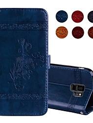 baratos -Capinha Para Samsung Galaxy S9 Plus / S9 Carteira / Porta-Cartão / Flip Capa Proteção Completa Flor Rígida PU Leather para S9 / S9 Plus / S8 Plus