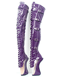 cheap -Women's Shoes PU(Polyurethane) Fall & Winter Novelty / Fashion Boots Boots Heterotypic Heel Round Toe Over The Knee Boots Purple