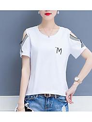 abordables -Mujer Básico Camiseta Letra
