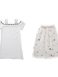 cheap -Kids Girls' Black & White Solid Colored Short Sleeve Dress