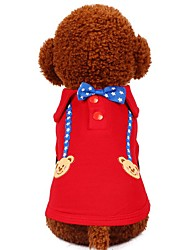 abordables -Chiens Chats Animaux de Compagnie Tee-shirt Vêtements pour Chien Avec motifs Etoiles Bande dessinée Rouge Bleu Coton / Polyester Costume