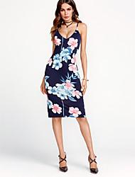 baratos -Mulheres Bandagem Para Noite Feriado Moda de Rua Tubinho Vestido Floral Com Alças Cintura Alta Altura dos Joelhos Azul