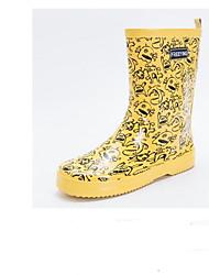 baratos -Mulheres Sapatos Borracha Primavera Verão Botas de Chuva Botas Sem Salto para Amarelo