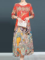 baratos -Mulheres Moda de Rua / Sofisticado Evasê / balanço Vestido - Estampado, Floral Médio