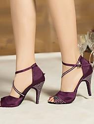 preiswerte -Damen Schuhe für den lateinamerikanischen Tanz Seide Absätze Stöckelabsatz Tanzschuhe Schwarz / Purpur / Blau / Leistung / Leder / Praxis
