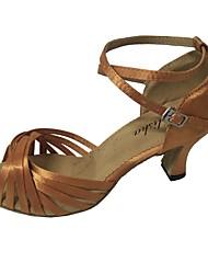 economico -Per donna Scarpe per balli latini Raso Sandali Tacco cubano Personalizzabile Scarpe da ballo Beige / Rosso / Tessuto almond / Al coperto