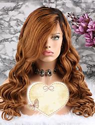 baratos -Cabelo Remy Peruca Cabelo Brasileiro Ondulado Corte em Camadas 130% Densidade Com Baby Hair / 100% Virgem Dourado Curto / Longo /