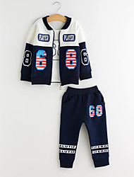 cheap -Boys' Daily Going out Solid Print Patchwork Clothing Set, Cotton Spring Fall Long Sleeves Vintage Red Navy Blue Gray Light Green