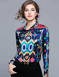economico -Camicia Per donna Moda città Con stampe, Fantasia geometrica
