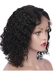 Недорогие -Remy Полностью ленточные Парик Бразильские волосы Кудрявый Парик Короткий Боб 130% Природные волосы / С отбеленными узлами Жен. Короткие Парики из натуральных волос на кружевной основе