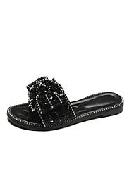 お買い得  -女性用 靴 PUレザー 夏 コンフォートシューズ スリッパ&フリップ・フロップ フラットヒール のために アウトドア ブラック / シルバー