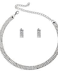 baratos -Mulheres Garra de gato Conjunto de jóias 1 Colar / Brincos - Luxo / Casual / Europeu Forma Geométrica Prata Conjunto de Jóias Para
