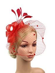 abordables -Gatsby le magnifique Rétro Années 20 Costume Femme Bandeau Garçonne Coiffure Bleu / Fuschia / Rouge Vintage Cosplay Plume Maille