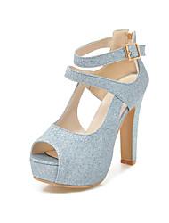 preiswerte -Damen Schuhe Paillette Frühling Sommer Pumps Sandalen Stöckelabsatz Peep Toe Schnalle für Hochzeit Party & Festivität Gold Silber Blau