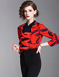 baratos -Mulheres Camisa Social - Trabalho Para Noite Moda de Rua Frufru, Geométrica Colarinho Chinês Delgado