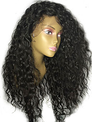 cheap -Remy Human Hair Lace Front Wig Wig Brazilian Hair / Water Wave Curly With Ponytail 130% Density With Baby Hair / Natural Hairline / With Bleached Knots Natural / Black Women's Long Human Hair Lace Wig