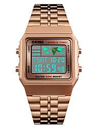 Недорогие -SKMEI Муж. электронные часы Японский Цифровой 30 m Защита от влаги Будильник Календарь Нержавеющая сталь Группа Цифровой На каждый день Мода Черный / Серебристый металл / Золотистый -  / Один год