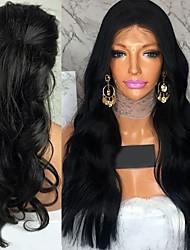 billige -Remy hår Blonde Front Paryk Brasiliansk hår Bølget Paryk 130% Med Baby Hair / Blød / Natural Hairline Naturlig Dame Kort / Lang / Mellemlængde Blondeparykker af menneskehår