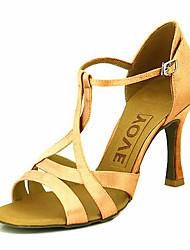 Недорогие -Жен. Танцевальная обувь Сатин Обувь для латины / Бальные танцы На каблуках Каблуки на заказ Персонализируемая Желтый / Фуксия / фиолетовый / Кожа / EU41