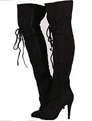 お買い得  -女性用 靴 ヌバックレザー 秋 ファッションブーツ ブーツ スティレットヒール ポインテッドトゥ ロングブーツ のために オフィス&キャリア / パーティー ダークグレー / ライトグレー / カーキ色