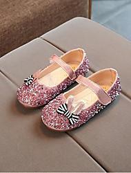 baratos -Para Meninas Sapatos Couro Ecológico Primavera Sapatos para Daminhas de Honra Rasos Laço para Festas & Noite Dourado / Prata / Rosa claro