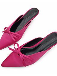 baratos -Mulheres Sapatos Seda Verão Conforto Tamancos e Mules Sem Salto Peep Toe Laço para Casual Preto Fúcsia Amêndoa