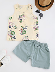 cheap -Boys' Daily Geometric Clothing Set, Cotton Summer Sleeveless Simple White Yellow