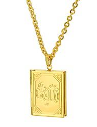 baratos -Mulheres Colares com Pendentes  -  Étnico Medalhão Fé FAITH Dourado Prata 55cm Colar Para Presente Diário